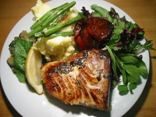 Pan-fried Swordfish with Lemon, Basil and Balsamic Roast Tomato… |